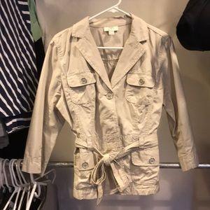 Khaki, blazer/jacket. Lightweight
